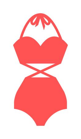 costume de bain: maillot de bain plat illustration isolé. icone plat et application mobile maillot de bain rouge. Femme maillots de bain maillot de bain rouge icône plat illustration isolé. Design plat maillot de bain bikini. Illustration