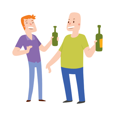 friends laughing: Group of friends alcoholics people at a bar illustration. Alcoholics people two men holding hands with a bottle of alcohol. Alcoholics people laughing . Laughing two man. Illustration