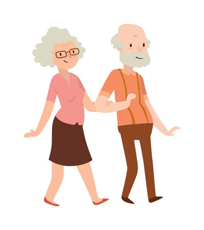 happy mature couple: Grandmother and grandfather in modern flat design . Elderly people old lady and old man in modern flat design. Grandmother and grandfather. Grandmother and grandfather family. Illustration