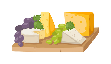 swiss cheese: Piece of sliced cheese isolated vector. Sliced cheese. Feta cheese - Greek cheese, maasdam cheese slices on a wooden serving board decorated with fresh fruit, grapes. Maasdam Swiss Cheese piece with holes. Illustration