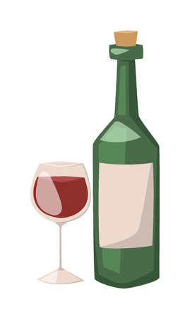 Botella de vino y copa de la ilustración de alcohol. Vino tinto en un vaso aislado sobre fondo blanco - dibujos realistas. Vaso de vino tinto. Botella de vino plana ilustración. Ilustración de vector