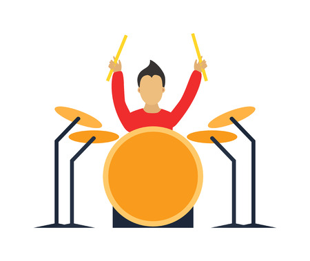 drummer: Musician drummer flat illustration. Musician cartoon drummer characters with drumm isolated on white background. Musician drummer people icons. Musician people rock drummer cartoon style. Illustration