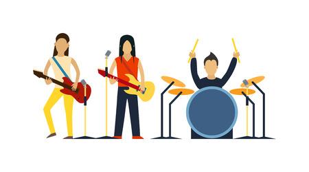 Banda de música con la ilustración del vector de instrumentos. Banda de músicos con instrumentos. Banda de música con la guitarra, tambor set vector. Banda de música de sonido del grupo. Banda de música de la gente moderna.
