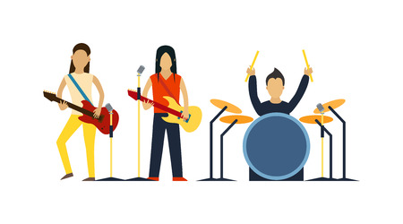 Music band with instruments vector illustration. Band of musicians with instruments. Music band with guitar, drum set vector. Music band sound group. Music band modern people. Illusztráció