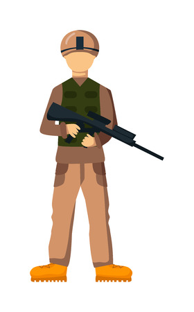 troop: USA troop armed forces man with weapon illustration. US Army soldiers, USA troop in camouflage combat uniform. Flat cartoon style military USA troop. Isolated USA troop illustration.