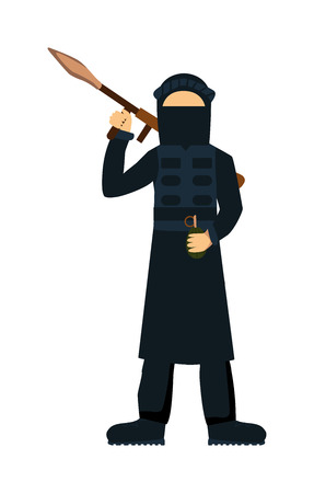 cartoon gangster: Terrorist isolated on white background. Terrorist illustrator. Terrorist with weapon. Terrorist with gun. Criminal terror attack