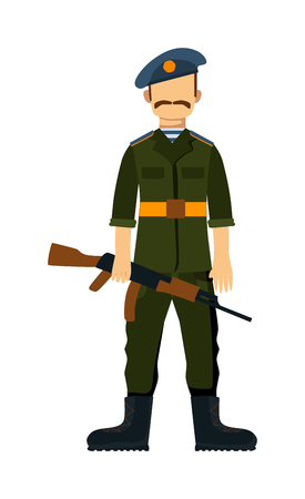 troop: Russia troop armed forces man with weapon illustration. Russia Army soldiers, Russia troop in camouflage combat uniform. Flat cartoon style military Russia troop. Isolated Illustration
