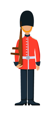 english culture: England troop armed forces man with weapon illustration. English guard in england troop soldier in hat. England troop man in uniform with weapon isolated on white background.