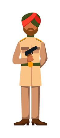 troop: Indian troop armed forces man with weapon illustration. Indian army in dark-skinned indian troop soldier in hat. Indian troop man in uniform with weapon isolated on white background.