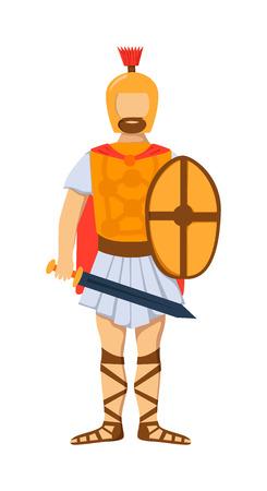 troop: Roman gladiator soldier troop armed forces man vector illustration. Roman soldier gladiator army, Roman soldier gladiator camouflage combat uniform. Flat cartoon vector military Roman gladiator Illustration
