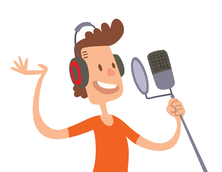 sing: Singer cartoon boy flat illustration. Singer cartoon character with microphone isolated on white background. Singer and microphone. Singer boy cartoon style. Illustration