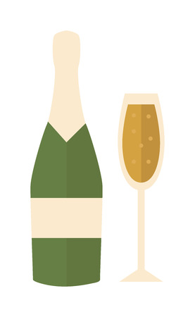 Champagne bottle alcohol drink object and champagne bottle slhouette vector. Champagne bottle icon symbol flat vector illustration. Champagne bottle, champagne glasses vector illustration Çizim