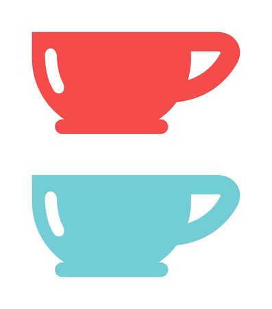 red cup: Tea red and blue cup and empty red cup. Red single handle espresso cup breakfast food and ceramic red and blue flat cup. Red cup coffee tea or drink cafe morning beverage kitchen accessory flat vector.