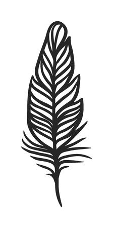 Hand getrokken gestileerde veren zwarte kleur en doodle tribale sier zwarte veer. Zwarte veer natuur vogel symbool. Rustieke decoratieve zwarte veren doodle vintage art grafische vector.