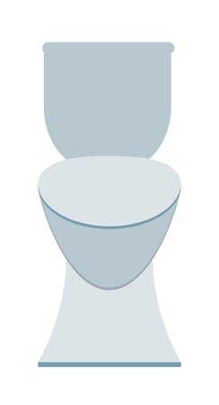 domestic bathroom: Lavatory toilet and clean toilet bowl. Domestic porcelain toilet flush interior element, sanitary home bathroom interior. White sanitary clean toilet bowl in bathroom bath design washroom flat vector.