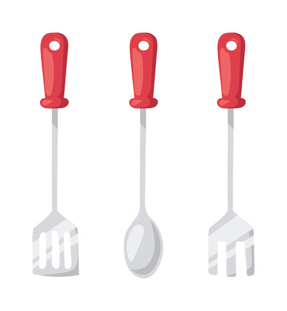 stainless steel kitchen: Set of kitchen metal ladle and cooking kitchen ladle. Kitchenware utensil cooking tool domestic steel stainless kitchen ladle equipment. Kitchen ladle cooking equipment flat vector illustration. Illustration