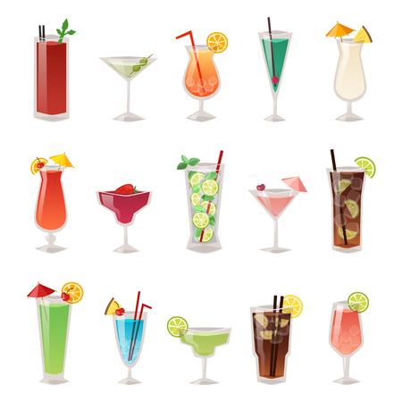 El alcohol bebidas bebidas y cóctel de alcohol botella de bebida de whisky envase lager refresco. Alcohol Menú concepto borracho. Conjunto de diversa ilustración vectorial botella de bebida de alcohol y vasos.