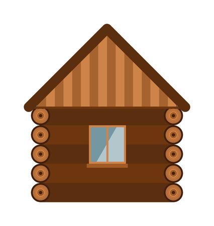 Houten huis met een glazen raam en de muur van houten huis. Het bouwen van nieuwbouw houten huis huisje exterieur. Blokhuis architectuurontwerp landgoed oude muur met glazen raam platte vector illustratie.