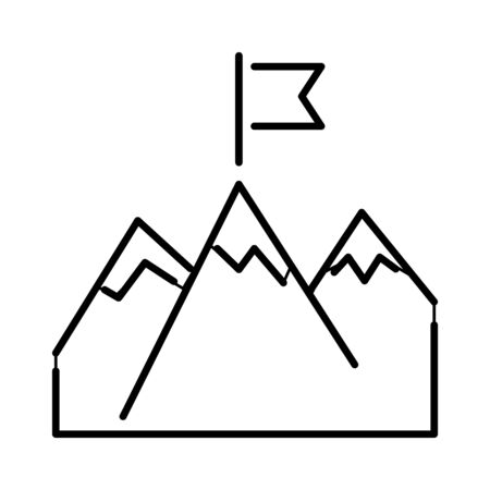 succes: Mountains with flag succes icon and business success icon. Succes concept winner best idea, victory line art silhouette mountains. Line mountains with flag arrow success icon diagram symbol vector.