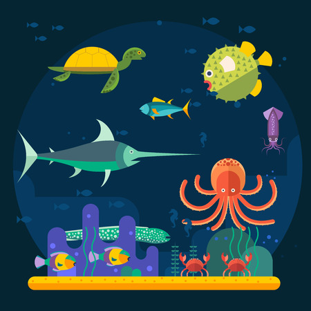 cod: Underwater background with various water plant and swimming tropical fish. Underwater background with fish. Underwater background coral garden with glossy water surface colorful fish playing vector