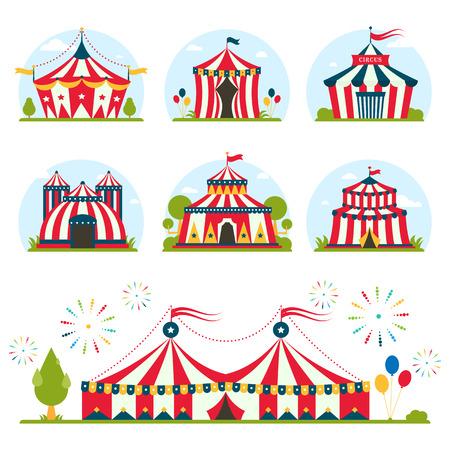 payasos caricatura: carpa de circo de dibujos animados con la diversión de entretenimiento rayas y banderas carnaval lelements vector plana. Circo tiendas de entretenimiento, tiendas rojas circo de atracciones. Carnival carpas de circo celebración Park Arena.