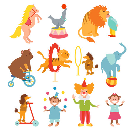 Set of various circus elements, people, animals and decorations. Circus entertainment animals, adorable clowns icons set. Cute circus animals and funny clowns collection vector illustration.