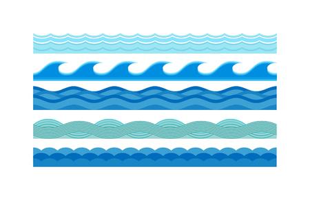 Natura fale i fale morskie poziomo. Fale wzorzec projektowy charakter dekoracji, oszczędny mokre niebieskie fale ustawiony. Morze fale wzór ustawiony poziomo ocean streszczenie ilustracji wektorowych elementem przyrody płaski.