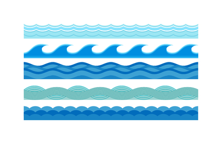 Nature waves and sea horizontally waves. Waves design pattern nature decoration, creative wet blue waves set. Sea waves pattern set horizontally ocean abstract element nature flat vector illustration. Vettoriali