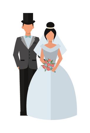 wedding couple silhouette: Wedding couple people vector illustration. Wedding couple isolated on white background. Wedding couple vector icon illustration. Wedding couple isolated vector. Wedding couple silhouette