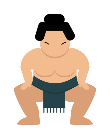 cartoon warrior: Sumo wrestler japanese and fat sumo wrestler. Wrestling strong sumo wrestler sport and culture power competitive traditional athlete. Angry cartoon japanese fat sumo wrestler vector illustration.
