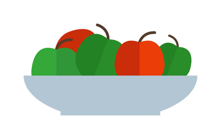 Apple plate healthy food and organic apple plate. Fresh sweet juicy apple plate, vegetarian organic fruit agriculture. Fresh green red apples plate healthy fresh organic food flat vector illustration. Ilustrace