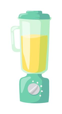 objects equipment: Juice kitchen blender machine easy to make drinks, kitchen blender healthy food mix. Kitchen blender shake cooking. Apparatus for cooking soup kitchen blender electric appliance equipment flat vector.