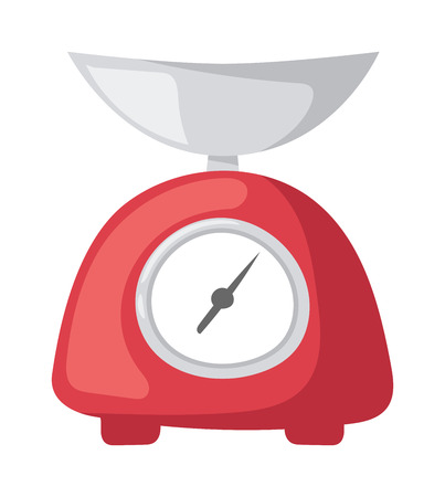preparing: Weighing kitchen scales with pan and dial weight measurement. Kitchen scales appliances measuring tool preparing baking. Vector illustration red weight kitchen scales measurement domestic appliance.