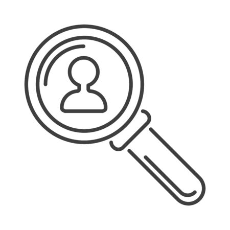 magnification icon: Search loupe zoom look, optic optimization loupe tool object. Loupe magnifying lens and loupe research zoom glass. Magnification loupe exploration. Magnifying glass flat loupe icon vector illustration Illustration