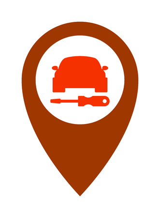 vehicle icon: Repair service car icon and automotive service car icon. Silhouette service car icon mechanic graphic element. Service car transport. Service car assistance icon repair symbol vehicle design vector. Illustration