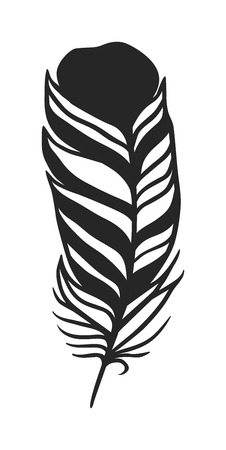 black feather: Hand drawn stylized feather black color and doodle tribal ornamental black feather. Black feather nature bird symbol. Rustic decorative black feather doodle vintage art graphic vector.