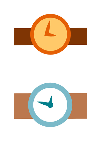 watch face: Flat watch face circle measurement and watch face time dial vector symbol isolated on white. Watch face antique clock vector illustration. Hand watch icon isolated