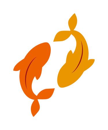 Koi carp and clean water gold carp symbol. Colorful asian underwater carp, natural river freshwater. Gold fancy carp freshwater fish water animal lake japan koi food flat vector illustration.