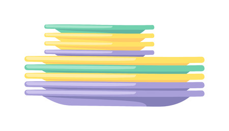 dishes: Tableware dishes and colorful plastic dishes. Group dishes clean dishware kitchen tableware restaurant equipment. Clean dishes empty dishware kitchen utensil cooking tableware flat vector illustration