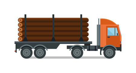 timber harvesting: Timber wood truck vector. Timber wood truck illustration. Timber truck isolated on white. Timber truck icon. Timber wood truck flat style. Timber truck silhouette. Timber truck auto transport. Transportation timber truck