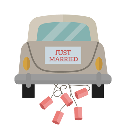 Marriage wedding car and ceremony wedding car. Groom couple bride vehicle wedding car romantic old automobile. Vintage wedding car with just married sign and cans attached flat vector illustration.