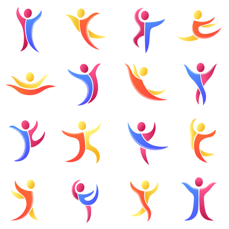 Silhouette different abstract peopleicons and abstract silhouette people. Performance silhouette people modern training abstract figure pose. Set of abstract people silhouettes vector people illustration icons