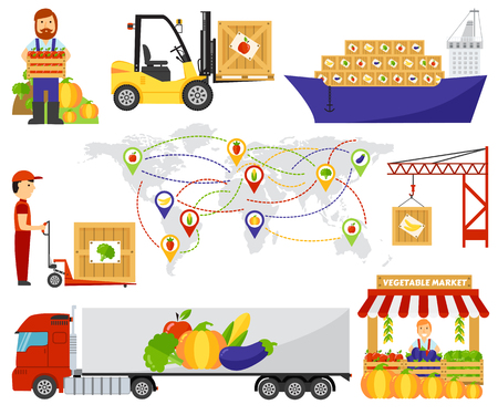 cartoon tractor: Fresh fruit and vegetables delivery. Fruits delivery natural organic market, fruits transportation vegetables truck delivery. Cartoon green eco food fruits delivery truck vector illustration.