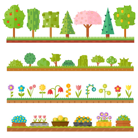 seasoned: Flat nature plants, green ecology flat plants. Summer green forest elements nature. Trendy and beautiful set of flat plants forest elements include grass, berries, bushes and trees vector illustration