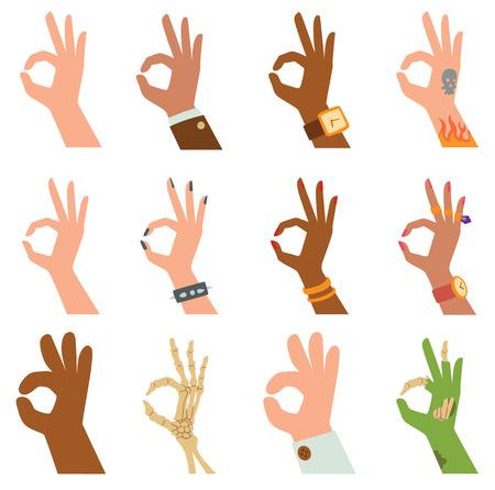 Ok handen succes gebaar en ok hands Ja overeenkomst. Ok handen signaal bedrijf menselijk eens. Beste goedkeuring accepteren. Silhouet van handen met het symbool van alles ok vinger duim vector illustratie.