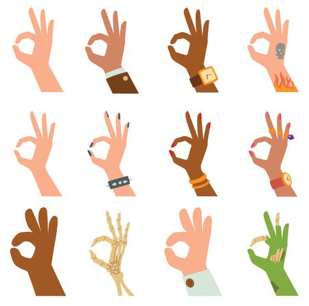 Ok hands success gesture and ok hands yes agreement. Ok hands signal business human agree. Best approval accept. Silhouette of hands showing symbol of all ok finger thumb vector illustration.