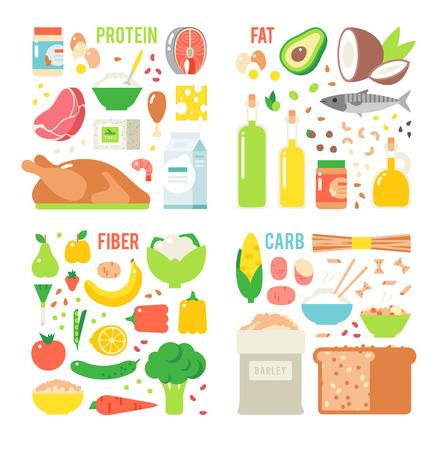 alimentacion equilibrada: nutrición saludable, proteínas grasas carbohidratos de la dieta equilibrada, la cocina, el vector culinaria y el concepto de alimentos. proteínas de nutrición grasas saludables Los carbohidratos frutas verduras, carne y nutrición saludable. Vectores