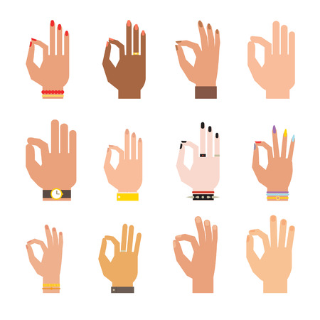 all ok: Ok hands success gesture and ok hands yes agreement. Ok hands signal business human agree. Best approval accept. Silhouette of hands showing symbol of all ok finger thumb vector illustration. Illustration