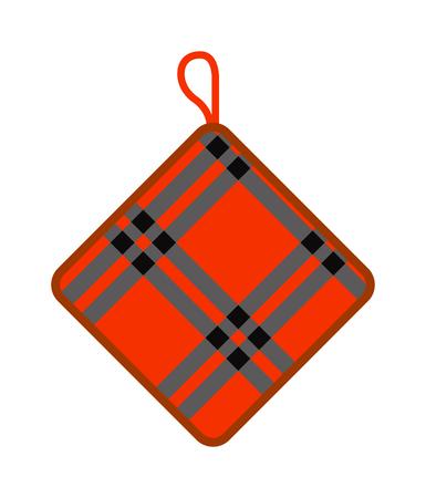 retardant: Pot holder home safety kitchen cooking utensil cotton thermal textile flat vector illustration. Safety potholder and kitchen pot holder. Green pot holder chef equipment cookery kitchenware. Illustration
