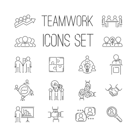 Business teamwork teambuilding thin line icons. Business, team work, command management thin lines and human resources icons. Teamwork icons, team work sign, Business work concept line icons vector Illusztráció
